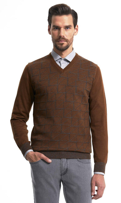 SAYKI Men's V Neck Tobacco Sweatshirt-SAYKI MEN'S FASHION