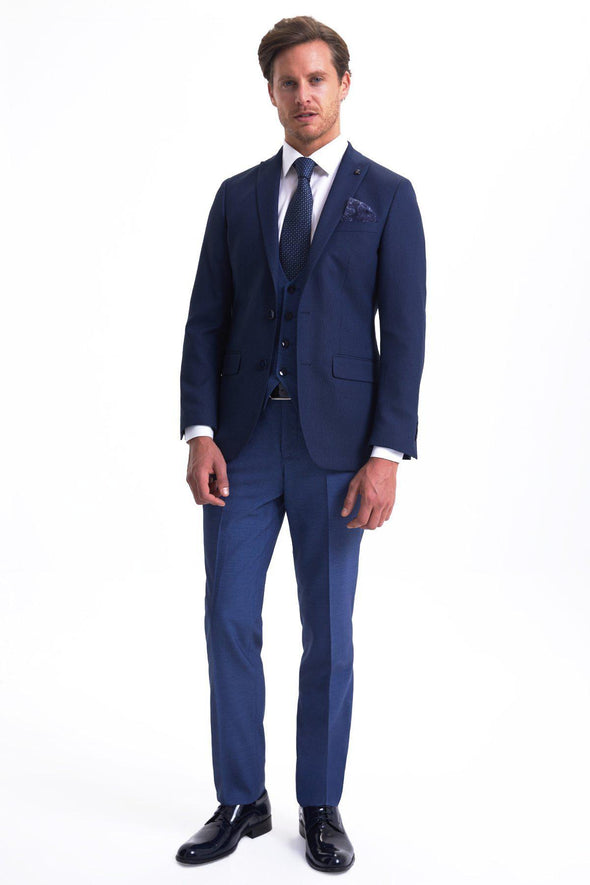 SAYKI Men's Slim Fit Single Breasted Dark Navy Suit-SAYKI MEN'S FASHION