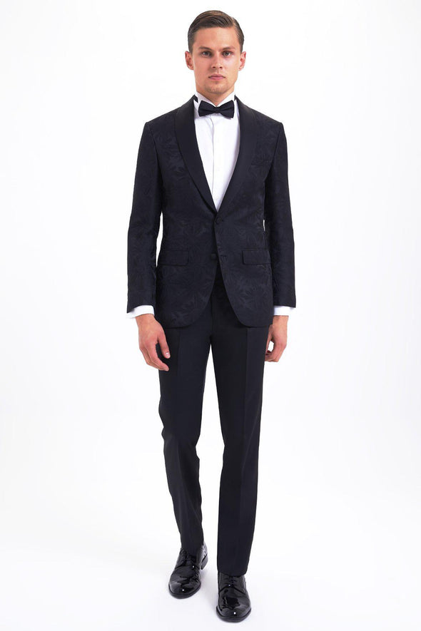 SAYKI Men's Slim Fit Single Breasted Patterned Black Tuxedo-SAYKI MEN'S FASHION