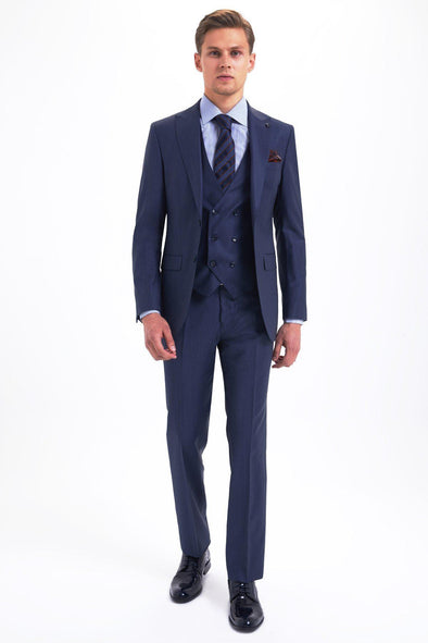 SAYKI Men's Slim Fit Suit with Giovanni Vest-SAYKI MEN'S FASHION