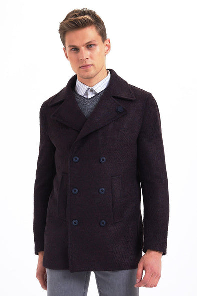 Sayki Mens Double Breasted Patterned Coat Burgundy / L Default