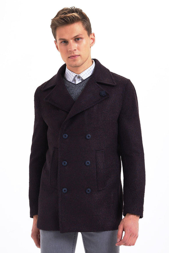 SAYKI Men's Double Breasted Patterned Coat-SAYKI MEN'S FASHION