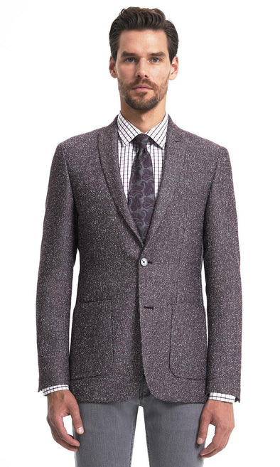 Sayki Mens Single Breasted Slim Fit Burgundy Blazer Default