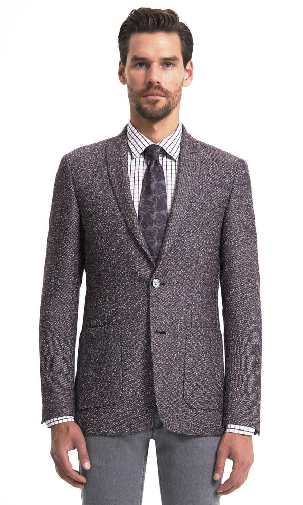 SAYKI Men's Single Breasted Slim Fit Burgundy Blazer-SAYKI MEN'S FASHION