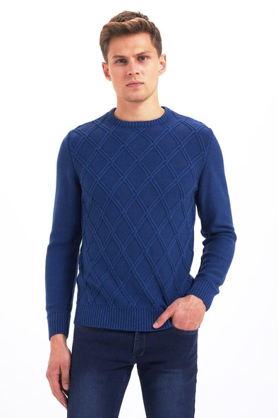 SAYKI Men's Crewneck Checkered Sweatshirt
