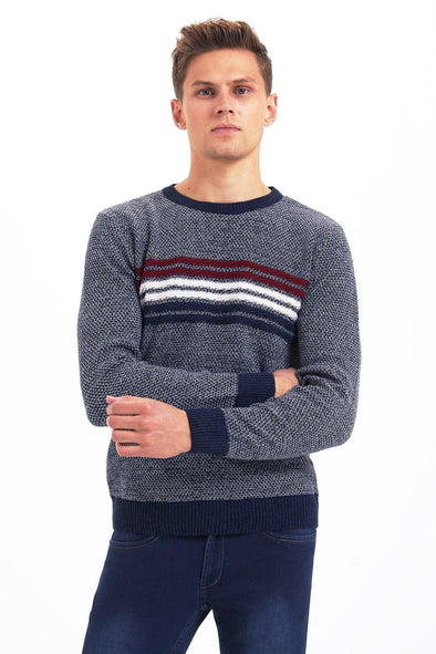 SAYKI Men's Crewneck Sweatshirt with Stripes-SAYKI MEN'S FASHION