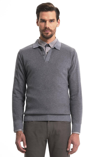 SAYKI Men's Polo Neck Knitwear Sweatshirt-SAYKI MEN'S FASHION