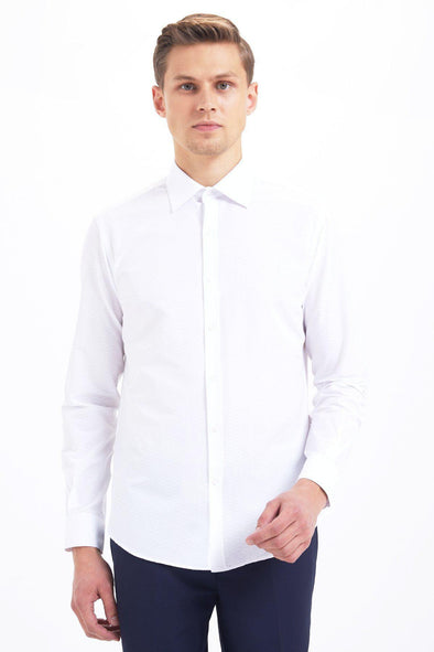Sayki Mens Slim Fit White Shirt Default