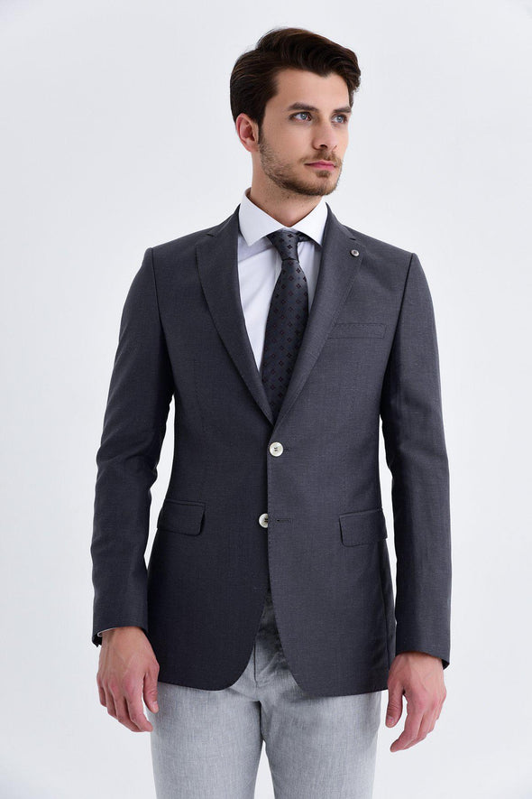 SAYKI Men's Slim Fit Single Breasted Light Grey Blazer