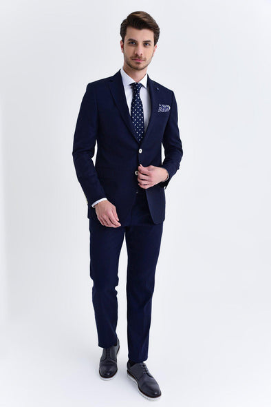 SAYKI Men's Slim Fit Single Breasted Dark Navy Blazer