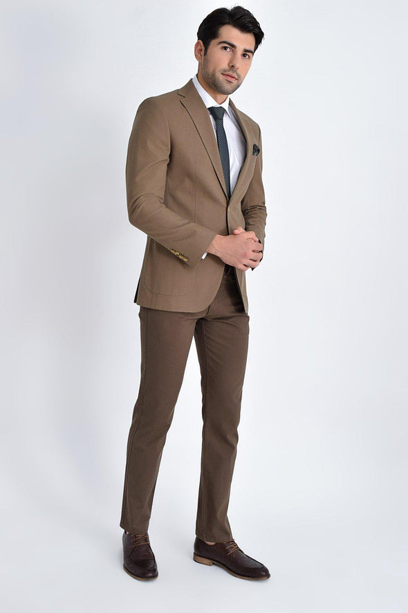 SAYKI Men's Light Brown Textured Slim Fit Blazer