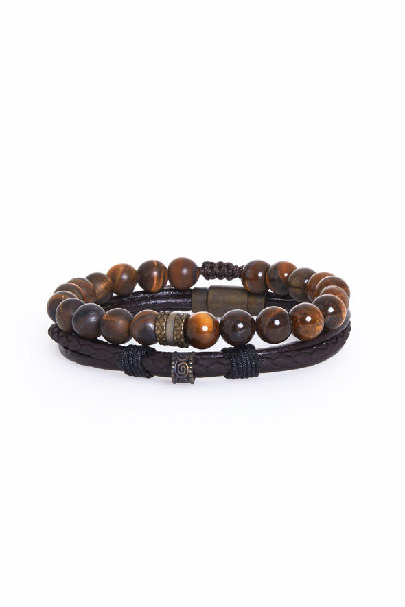 SAYKI Men's Brown Natural Stone Leather Wristband Set-SAYKI MEN'S FASHION