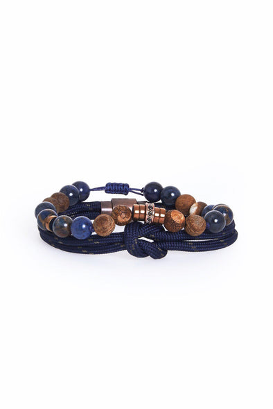SAYKI Men's Navy Natural Stone Rope Wristband Set-SAYKI MEN'S FASHION