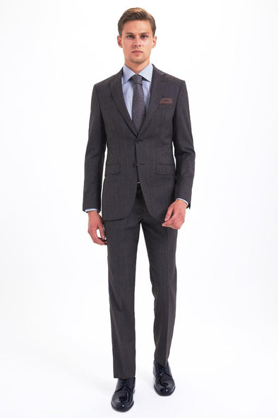 SAYKI Men's Slim Fit Single Breasted Brown Wool Suit-SAYKI MEN'S FASHION