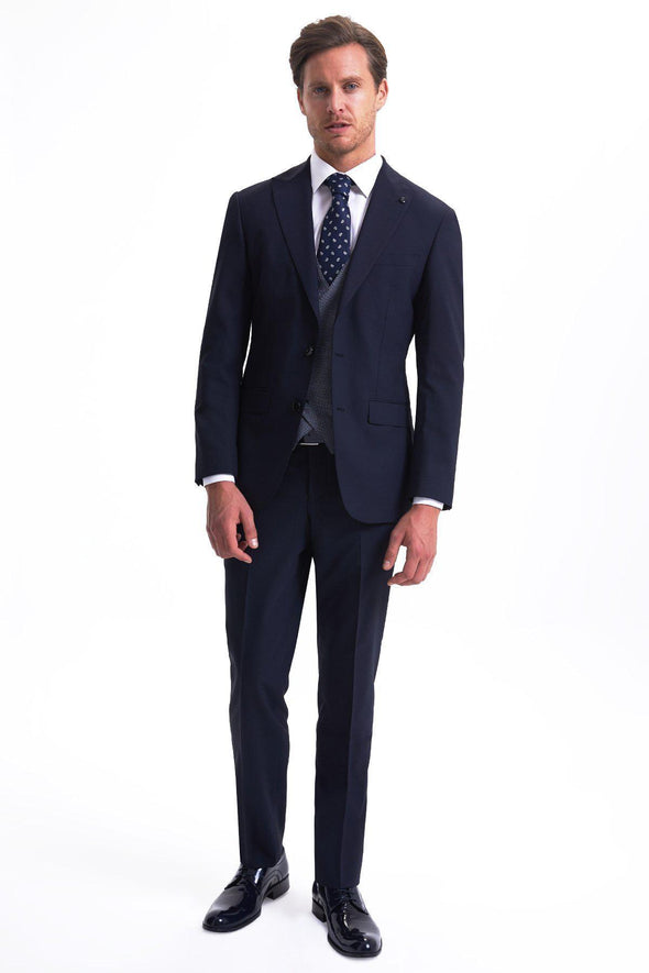 SAYKI Men's Slim Fit Single Breasted Navy Suit with Vest-SAYKI MEN'S FASHION