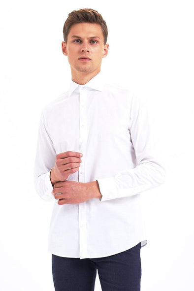 Sayki Mens Slim Fit White Cotton Shirt Default
