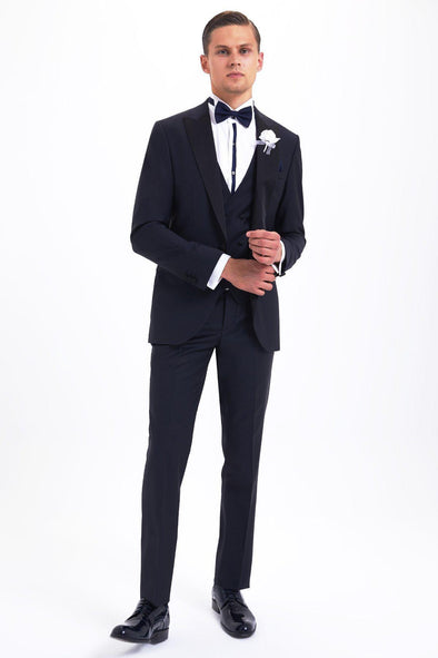 SAYKI Men's Bocelli Slim Fit Dark Navy Tuxedo with Giovanni Vest-SAYKI MEN'S FASHION