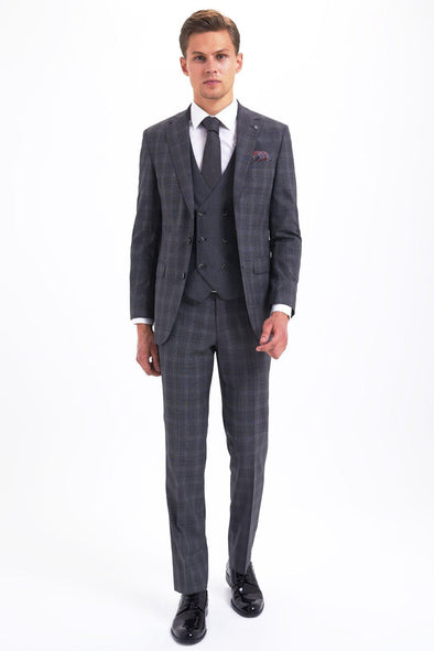 SAYKI Men's Slim Fit Grey Checkered Wool Suit with Giovanni Vest-SAYKI MEN'S FASHION