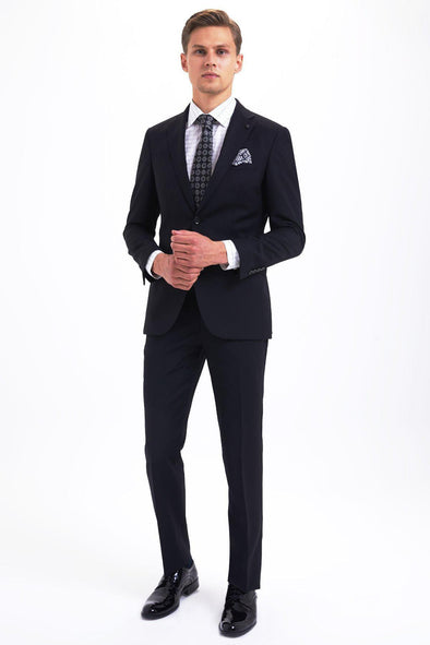 SAYKI Men's Pluto Slim Fit Single Breasted Black Suit-SAYKI MEN'S FASHION