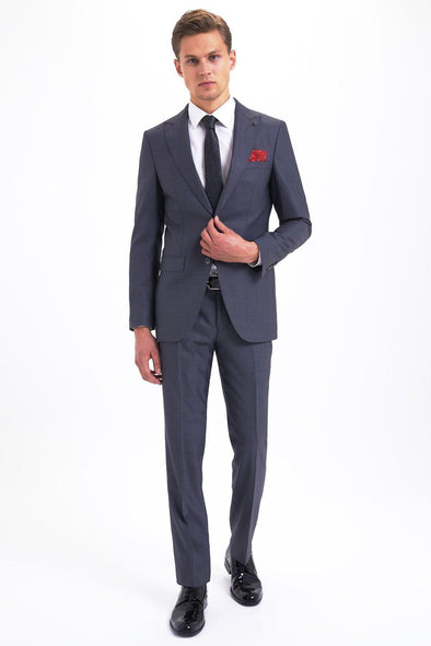 SAYKI Men's Slim Fit Single Breasted Grey Suit-SAYKI MEN'S FASHION