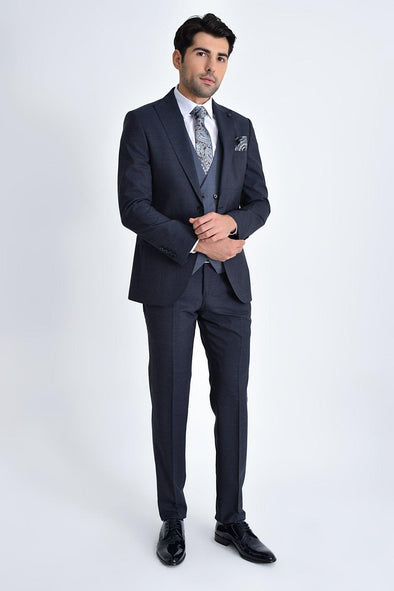 SAYKI Men's Slim Fit Navy Suit With Giovanni Vest