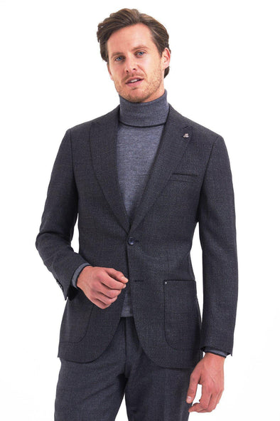 SAYKI Men's Slim Fit Single Breasted Black Wool Blazer-SAYKI MEN'S FASHION