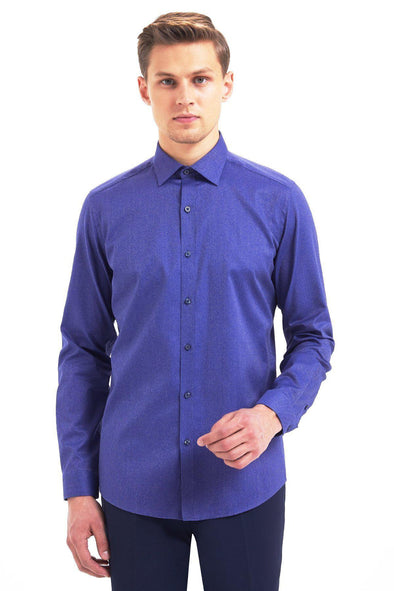 SAYKI Men's Slim Fit Navy Cotton Shirt-SAYKI MEN'S FASHION