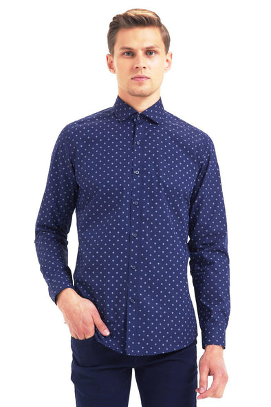 SAYKI Men's Slim Fit Navy Polka Dot Cotton Shirt-SAYKI MEN'S FASHION