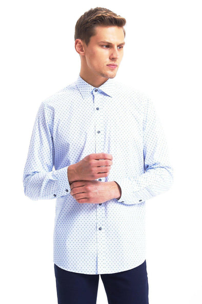 SAYKI Men's Regular Fit Blue Polka Dot Cotton Shirt-SAYKI MEN'S FASHION