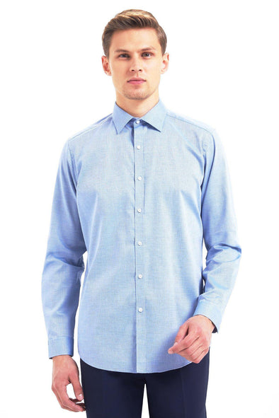SAYKI Men's Regular Fit Patterned Blue Cotton Shirt-SAYKI MEN'S FASHION