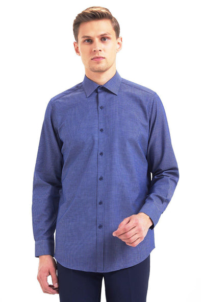 SAYKI Men's Slim Fit Navy Cotton Shirt