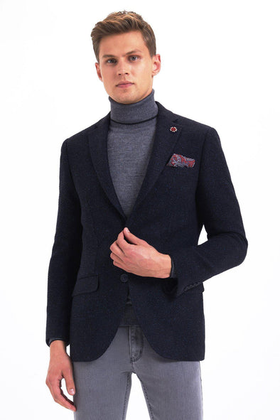 Sayki Mens Slim Fit Single Breasted Navy Blazer Default