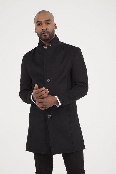 Saykı Men's Black Overcoat