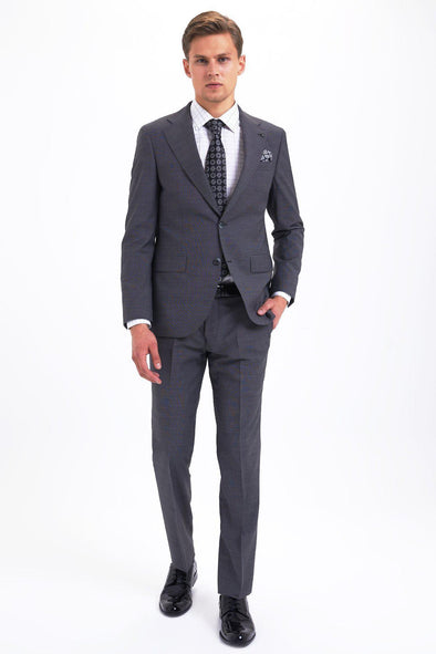 SAYKI Men's Dynamic Fit Single Breasted Grey Suit