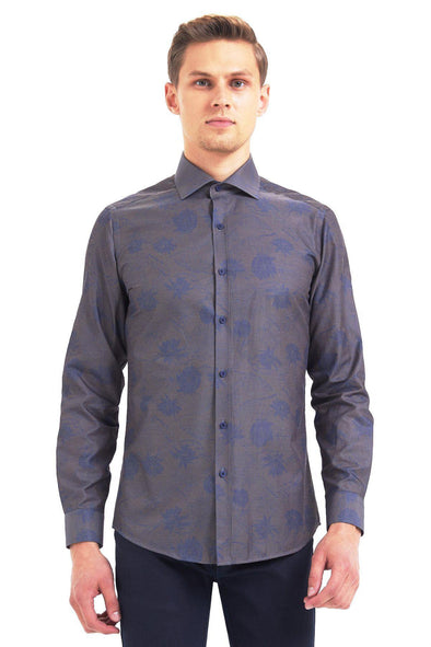 SAYKI Men's Slim Fit Patterned Shirt-SAYKI MEN'S FASHION