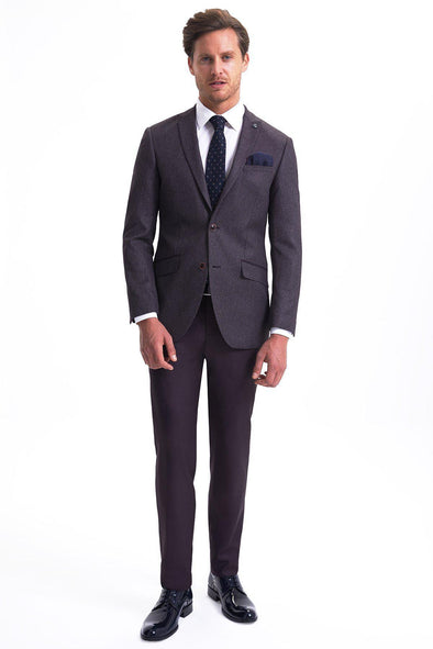 SAYKI Men's Slim Fit Single Breasted Patterned Suit-SAYKI MEN'S FASHION