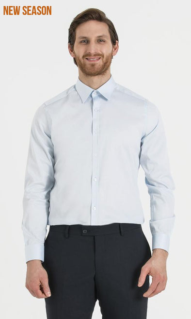SAYKI Men's Regular Fit Ice Blue Shirt