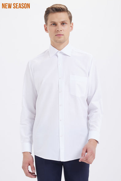 SAYKI Men's Classic Fit White Cotton Shirt