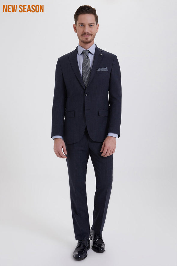 SAYKI Men's Slim Fit Single Breasted Blue Checkered Suit