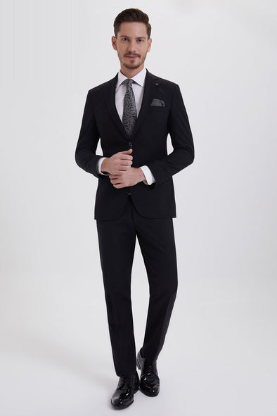SAYKI Men's Elegance Slim Fit Single Breasted Black Suit