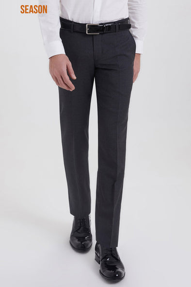 SAYKI Men's Slim Fit Dark Grey Wool Pants