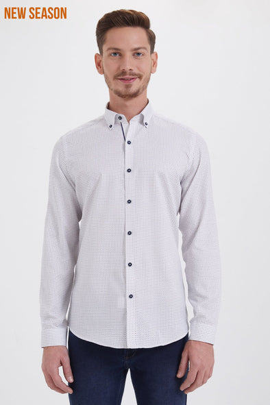 SAYKI Men's Slim Fit White Cotton Shirt