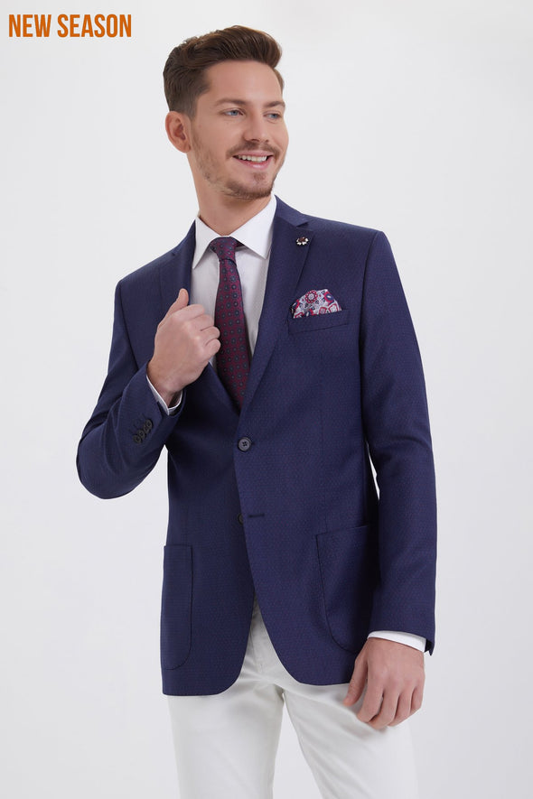 MICRO-PATTERN NAVY SLIM FIT BLAZER