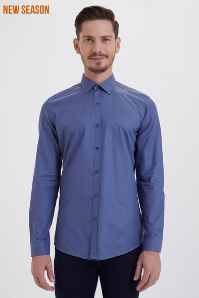 SAYKI Men's Slim Fit Dark Blue Patterned Cotton Shirt