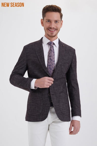 Sayki Men's Slim Fit Dark Grey Mİcro-Pattern Blazer