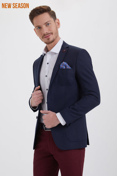 TEXTURED NAVY SLIM FIT BLAZER