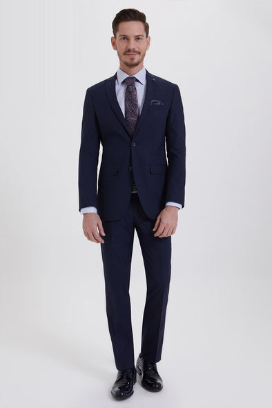 SAYKI Men's Slim Fit Single Breasted Navy Suit
