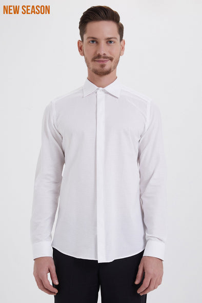 SAYKI Men's Slim Fit Cotton Shirt