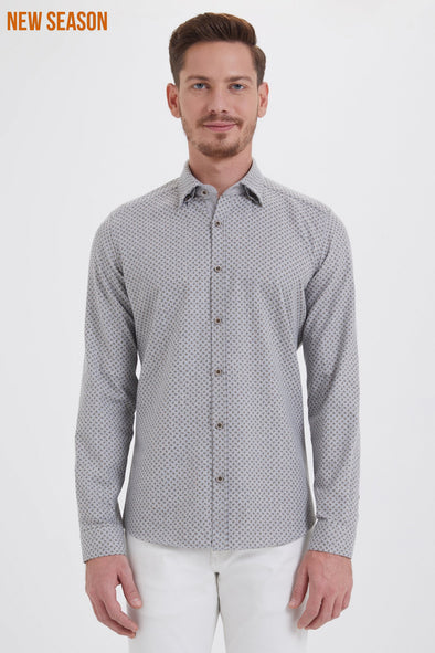 SAYKI Men's Slim Fit Patterned Shirt