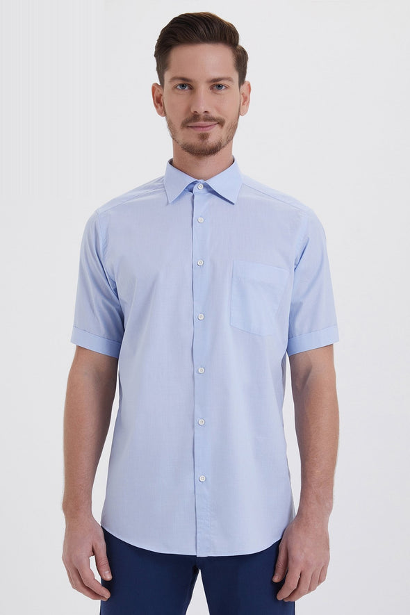 SAYKI Men's Classic Fit Short Sleeve Light Blue Cotton Shirt
